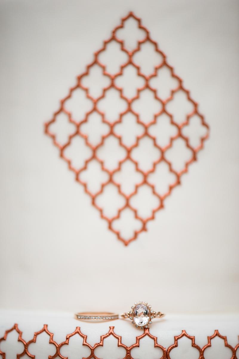 Elegant Museum Wedding Inspiration | Copper and Rose Gold Wedding Ring Shot