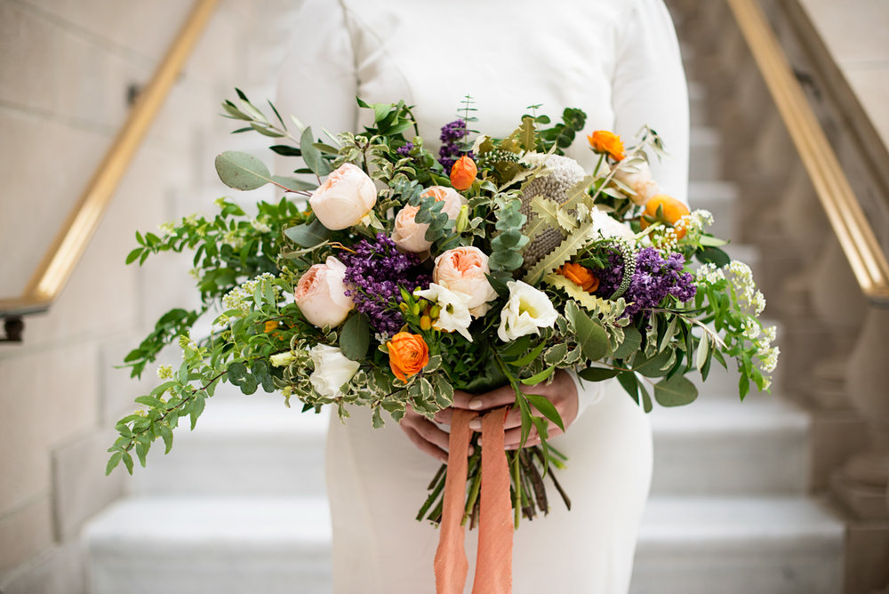 Elegant Museum Wedding Inspiration | Tangerine, Purple, White and Green Bridal Bouquet