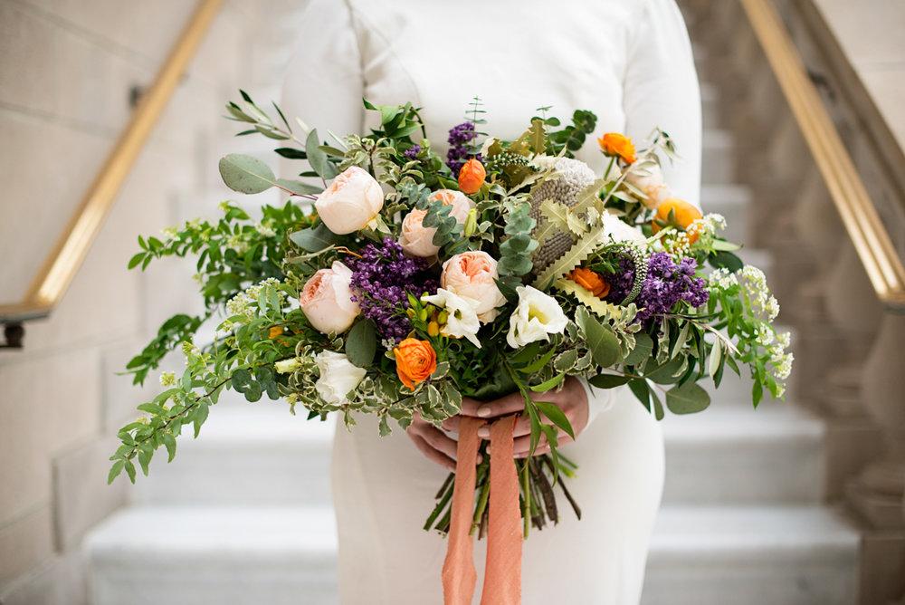 Elegant Museum Wedding Inspiration | Tangerine, Purple, White and Green Bridal Bouquet