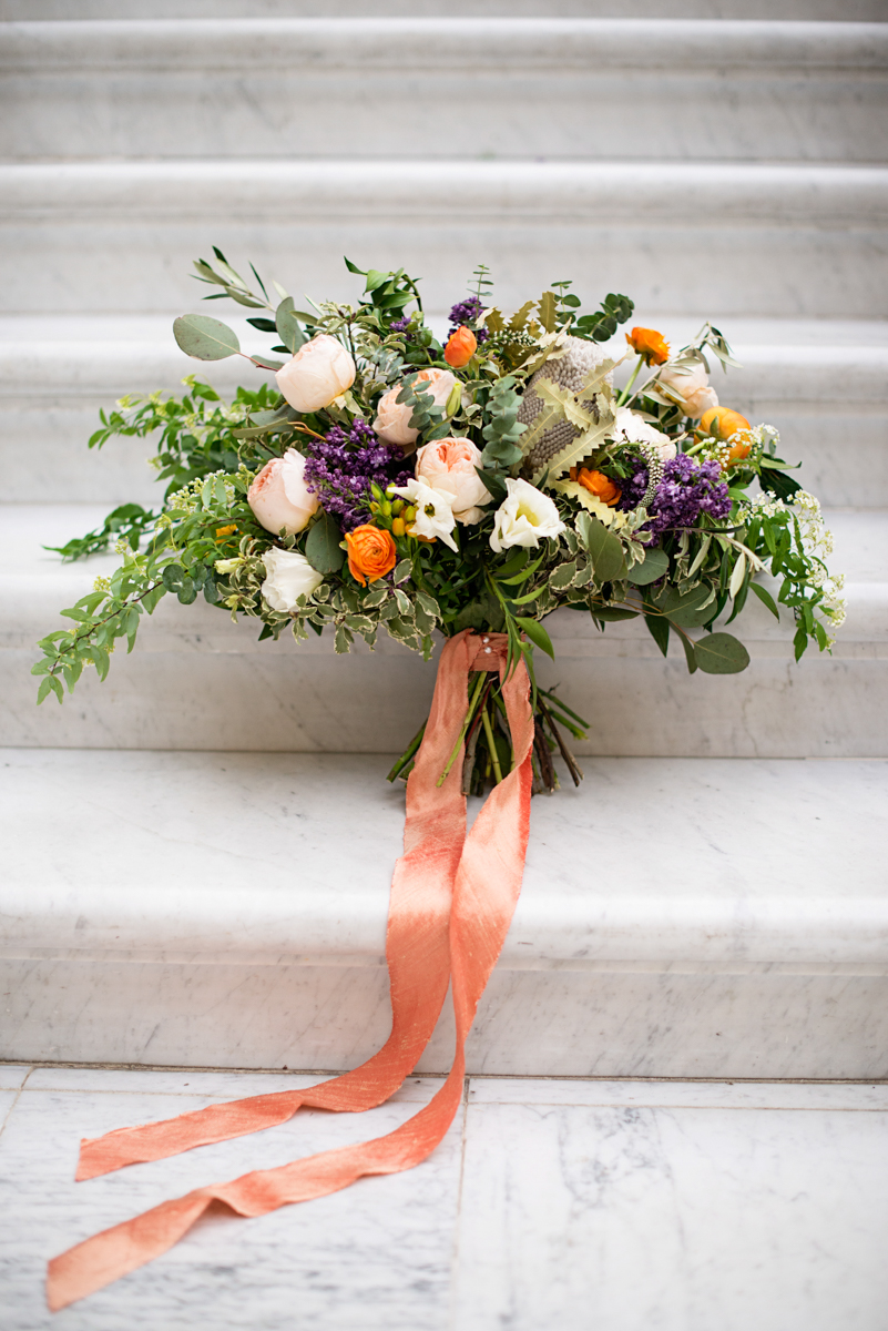 Elegant Museum Wedding Inspiration | Tangerine, Purple, Green and White Wedding Bouquet