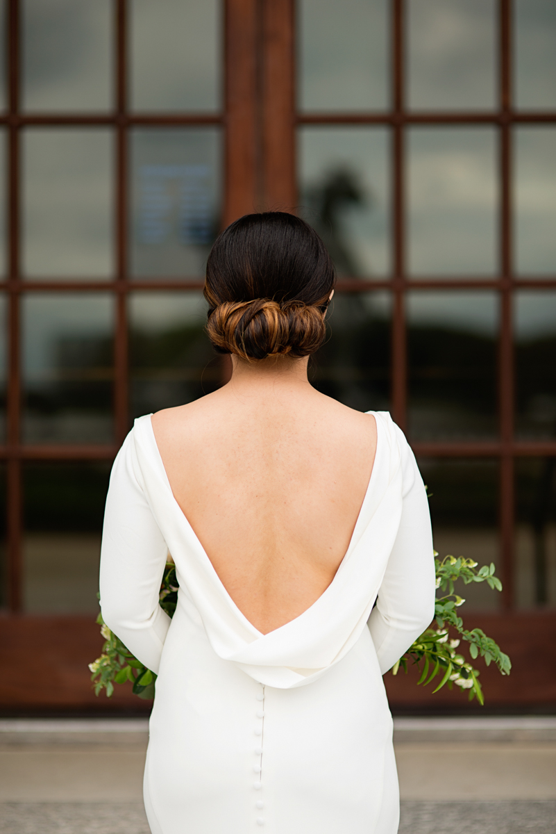 Elegant Museum Wedding Inspiration | Bride Chignon Wedding Hair