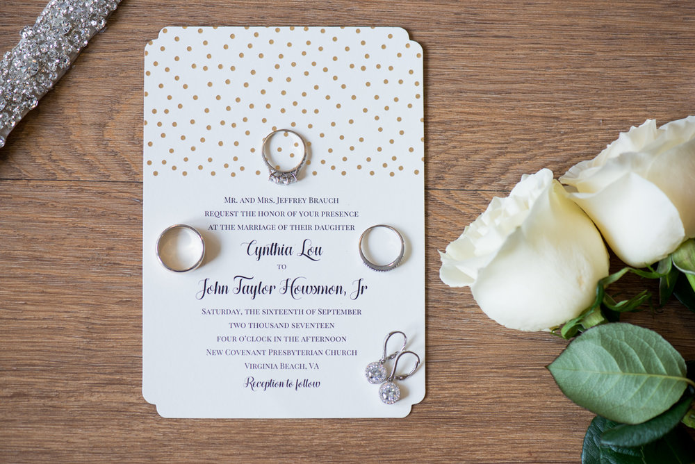Sparkly Gold and White Fall Wedding | Wedding Invitation Ring Shot