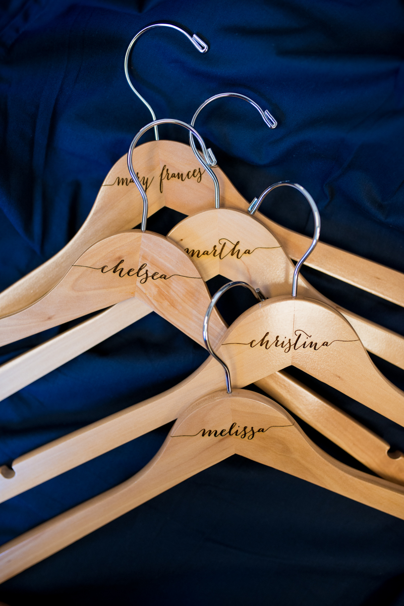 Sparkly Gold and White Fall Wedding | Bridesmaid Name Hangers