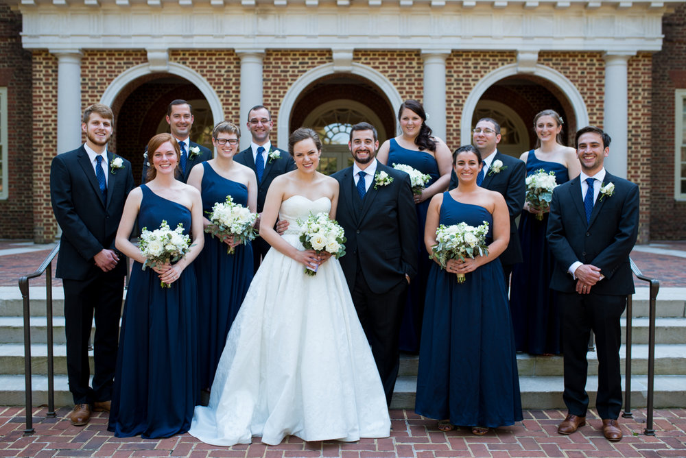 Sparkly Gold and White Fall Wedding | Classic Navy Bridal Party Portraits