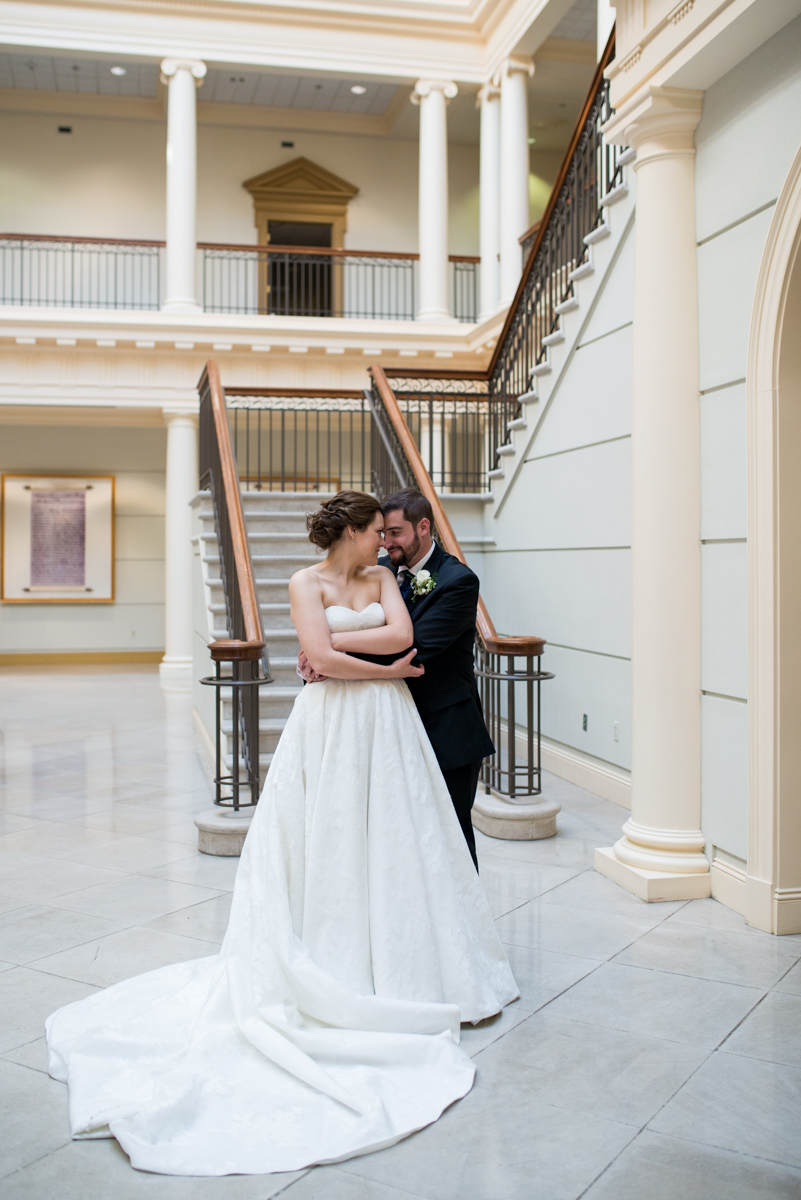 Sparkly Gold and White Fall Wedding | Bride and Groom Portrait