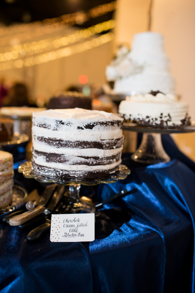Sparkly Gold and White Fall Wedding | Dessert Table
