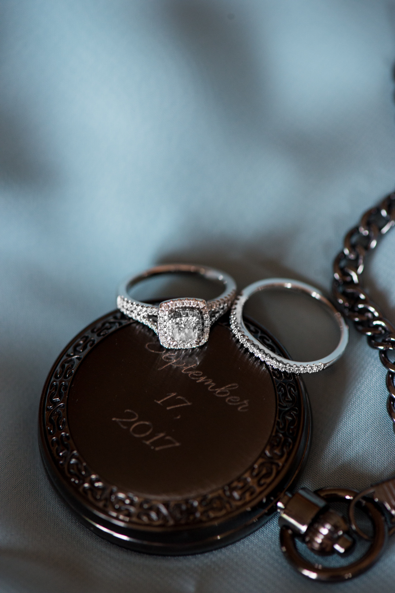 Powder Blue and Burgundy Fall Winery Wedding | Ring Shot with Pocketwatch