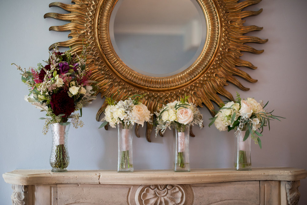 Powder Blue and Burgundy Fall Winery Wedding | Burgundy and White Bridal Bouquets