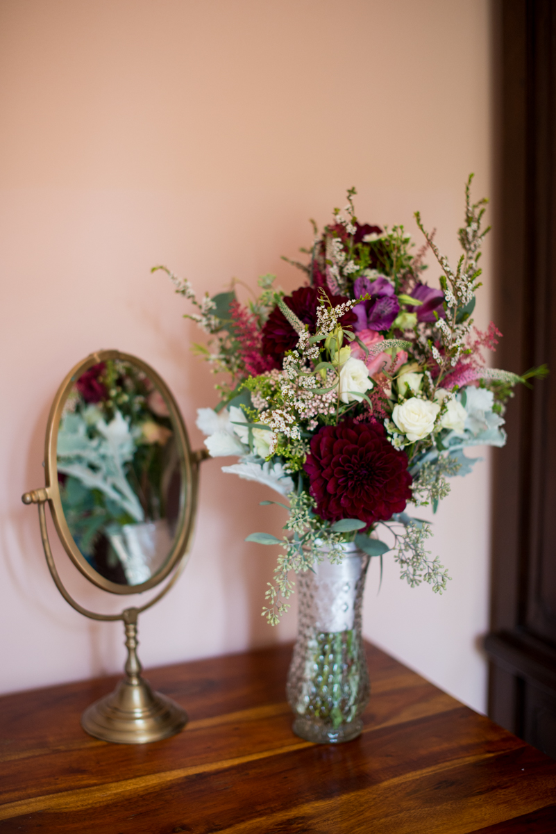 Powder Blue and Burgundy Fall Winery Wedding | Burgundy and White Bridal Bouquet