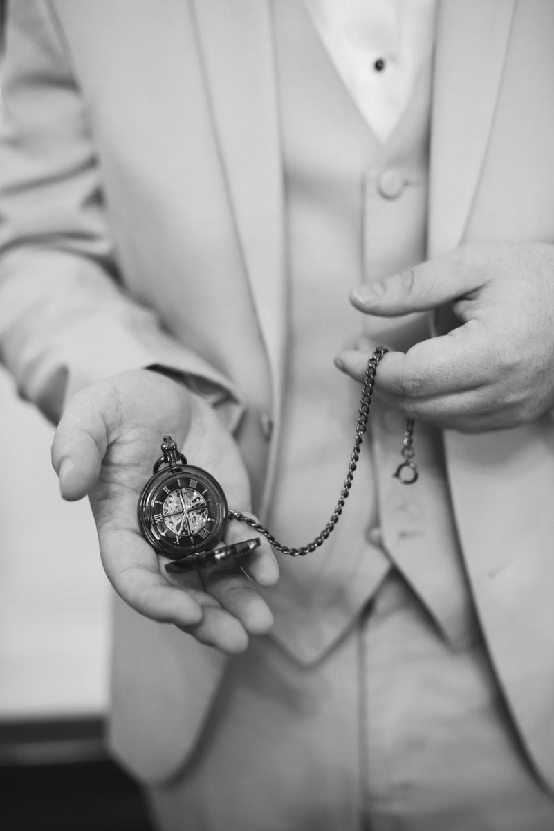 Powder Blue and Burgundy Fall Winery Wedding | Pocketwatch groom's gift