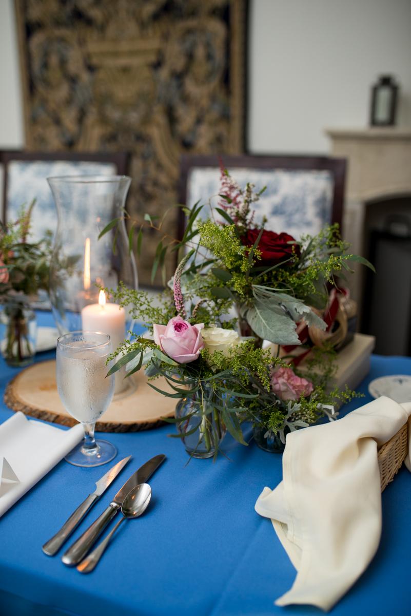 Powder Blue and Burgundy Fall Winery Wedding | Antique burgundy and powder blue reception