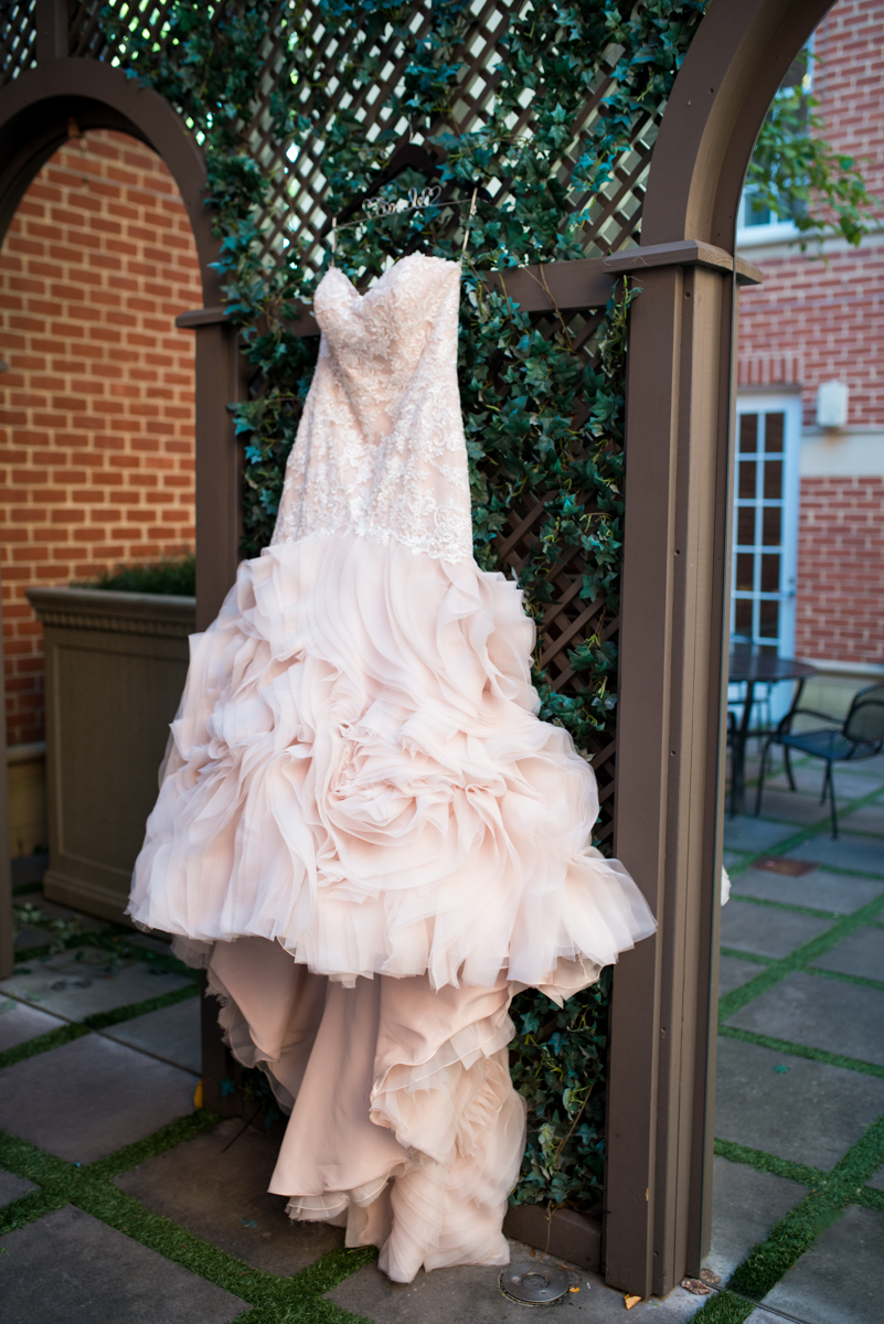 Downtown Classic Emerald and Black Tie Wedding | Champagne and Ruffles Wedding Dress