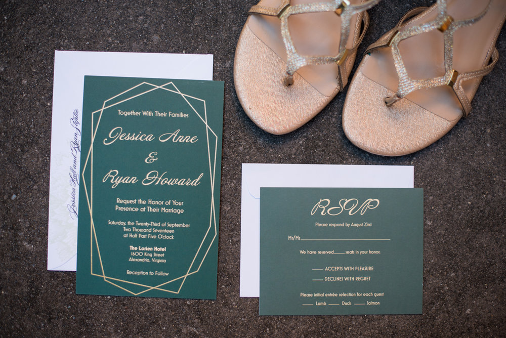 Downtown Classic Emerald and Black Tie Wedding | Emerald and Gold Wedding Invitations