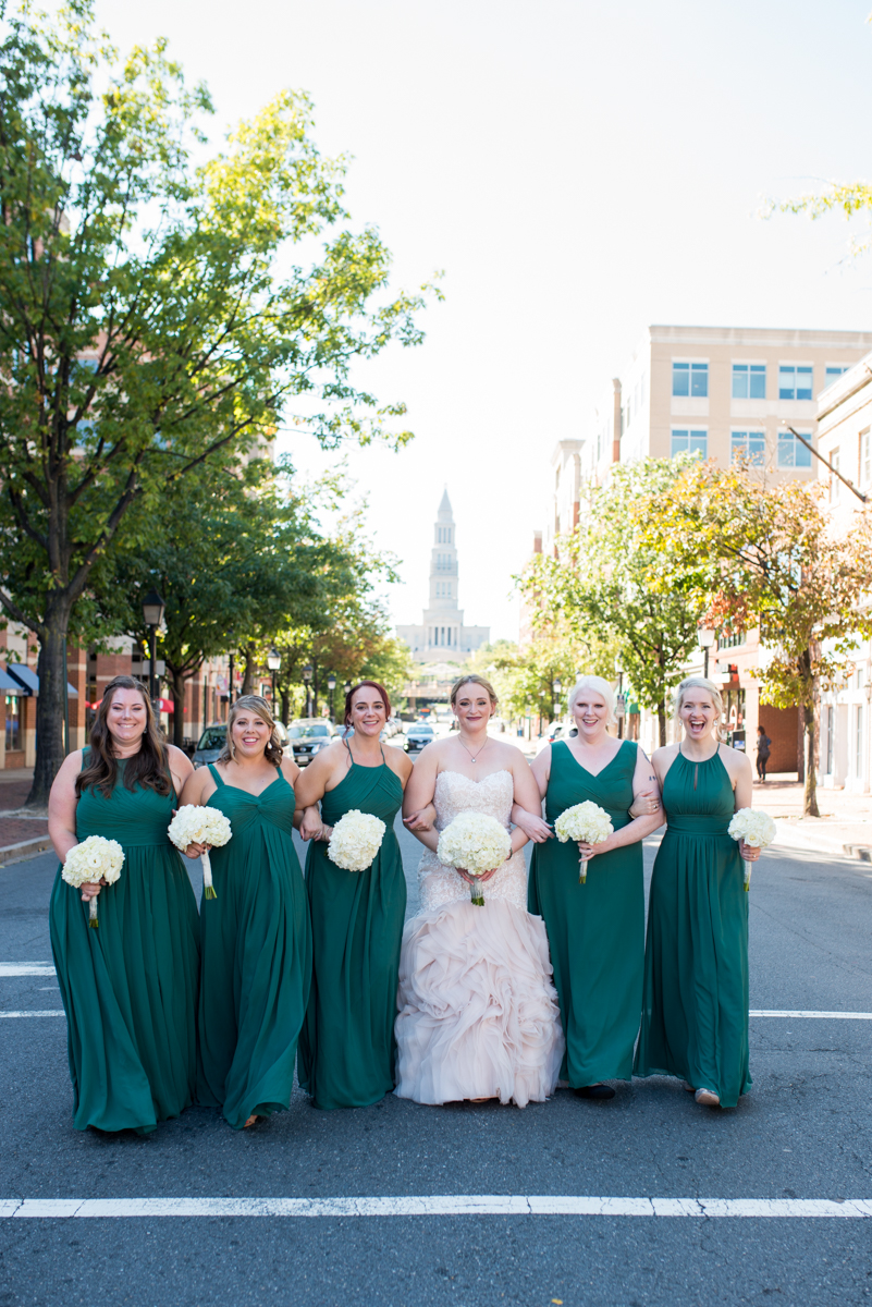 Downtown Classic Emerald and Black Tie Wedding | Emerald green bridal party