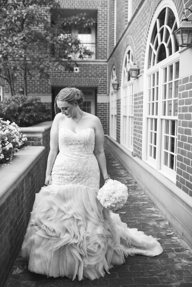 Downtown Classic Emerald and Black Tie Wedding | Bridal portrait in black and white