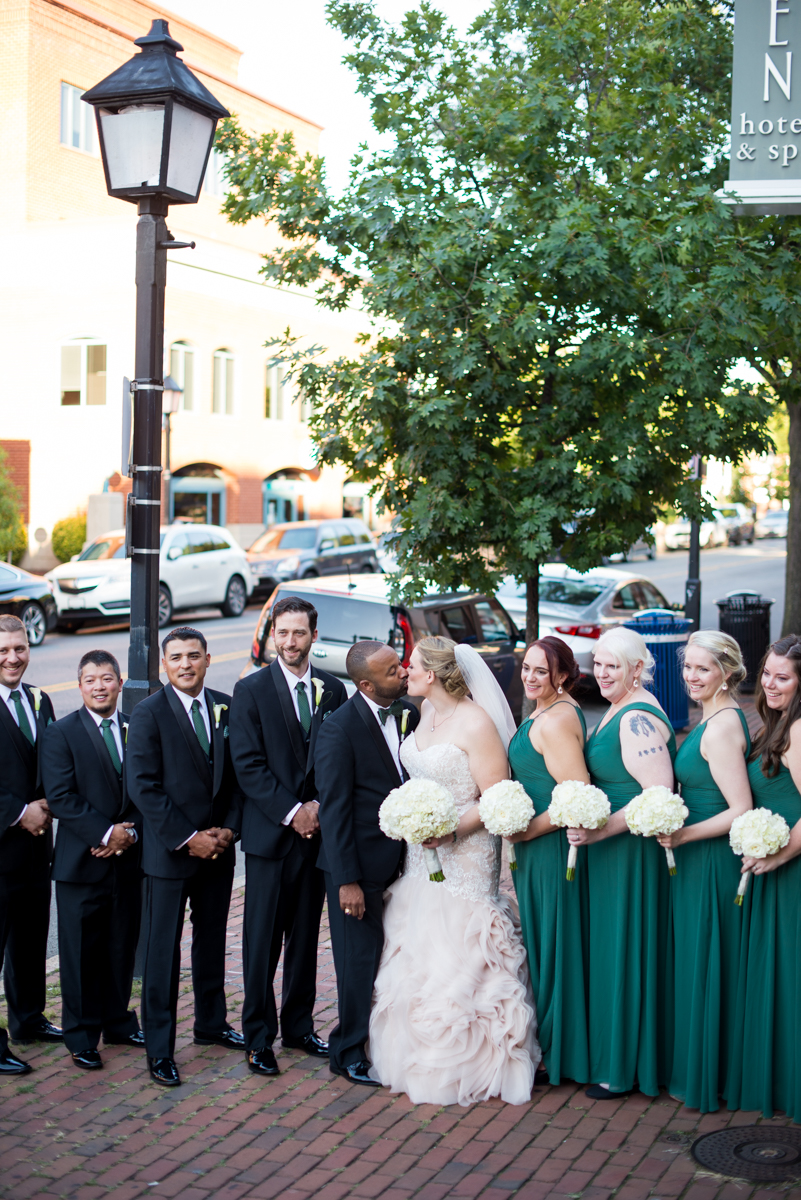 Downtown Classic Emerald and Black Tie Wedding | Emerald Bridal Party Dresses