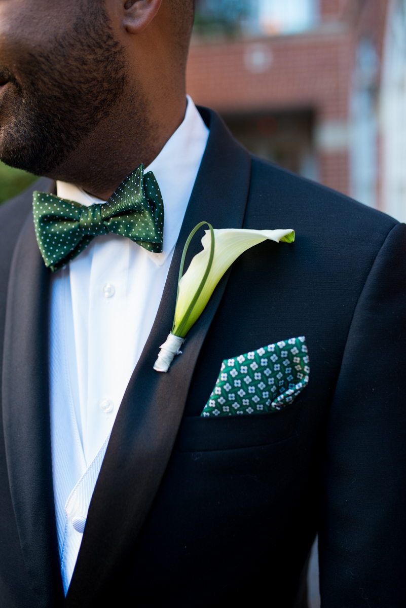 Downtown Classic Emerald and Black Tie Wedding | Emerald Green Bowtie