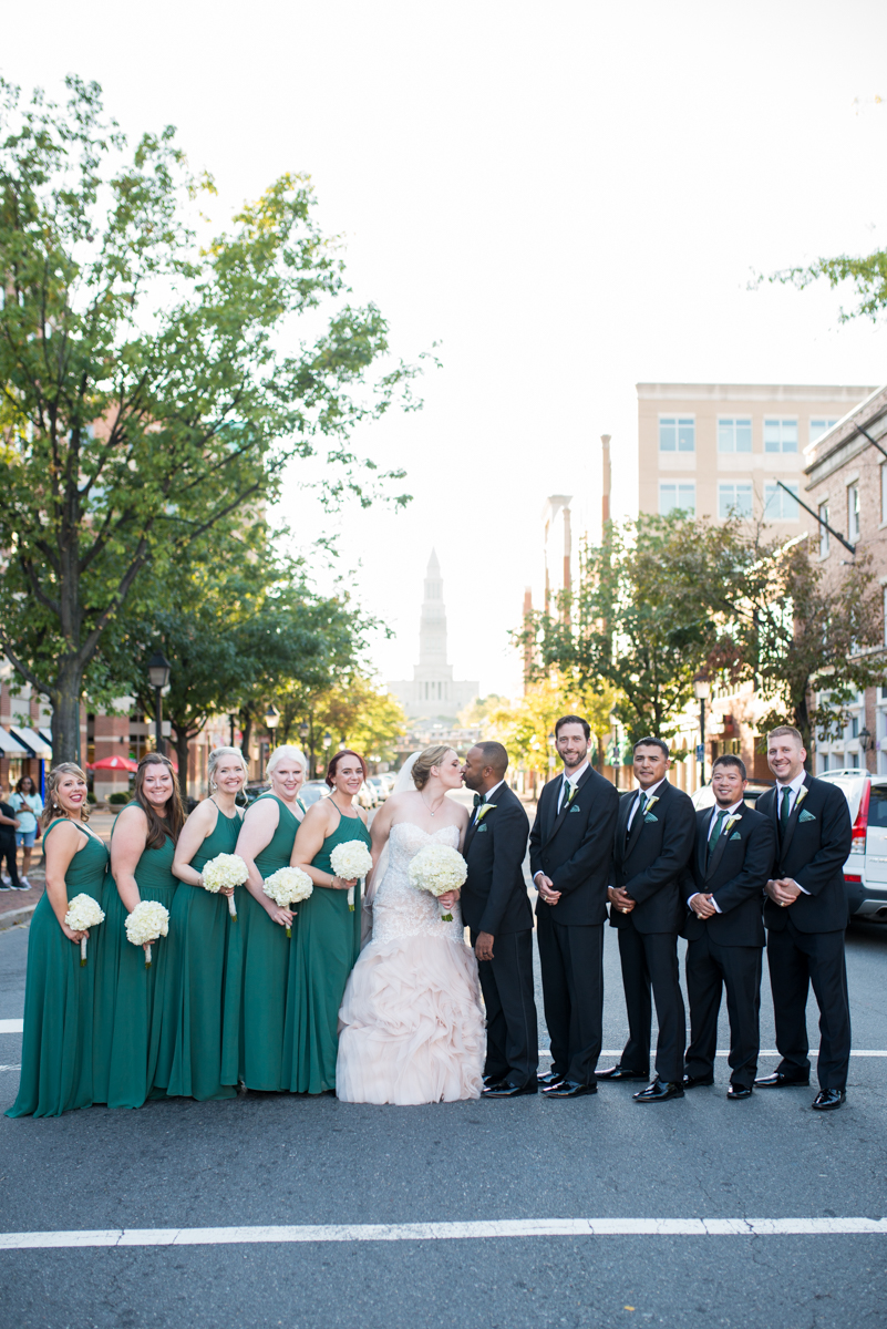 Downtown Classic Emerald and Black Tie Wedding | Emerald Green Bridal Party Dresses