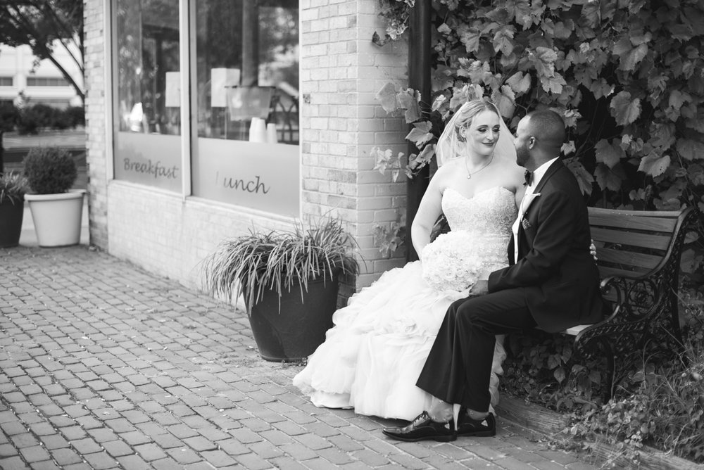 Downtown Classic Emerald and Black Tie Wedding | Bride and Groom Portraits