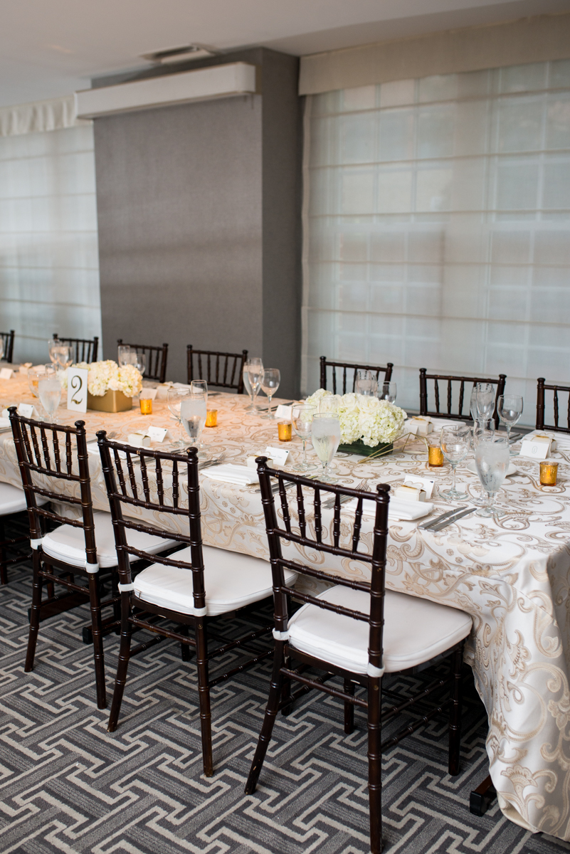 Downtown Classic Emerald and Black Tie Wedding | White and Gold Reception