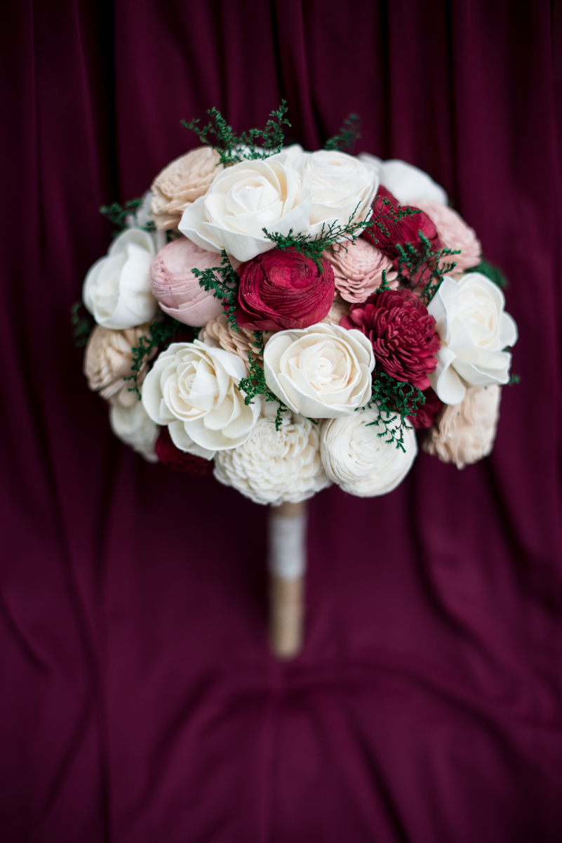 Marsala and White Wedding | Eco-Friendly Wood Flower Bouquet