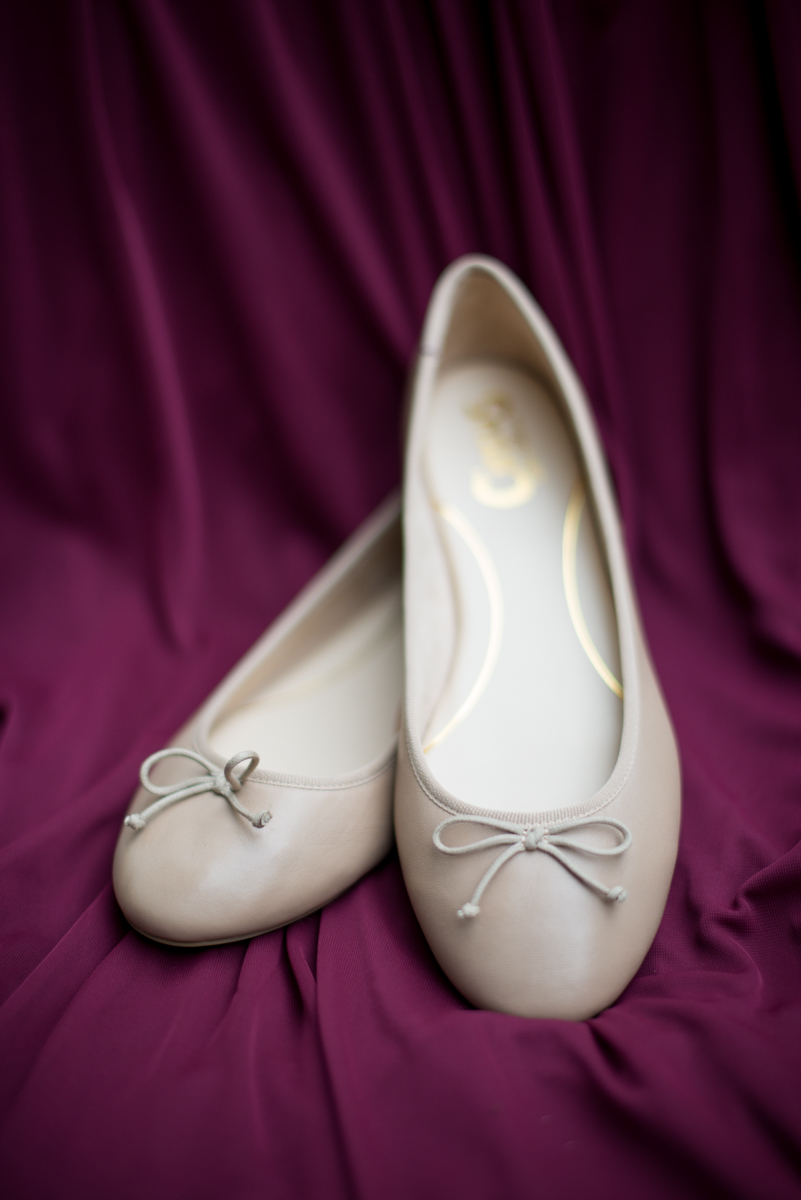 Marsala and White Wedding | Wedding Ballet Flats