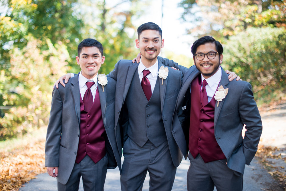 Marsala and White Wedding | Gray and Marsala Bridal Party Portraits