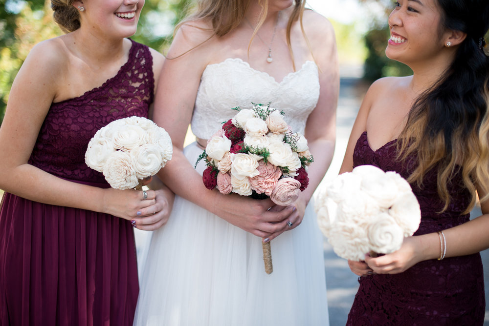 Marsala and White Estate Wedding | Marsala and White Eco-Friendly Wood Flowers