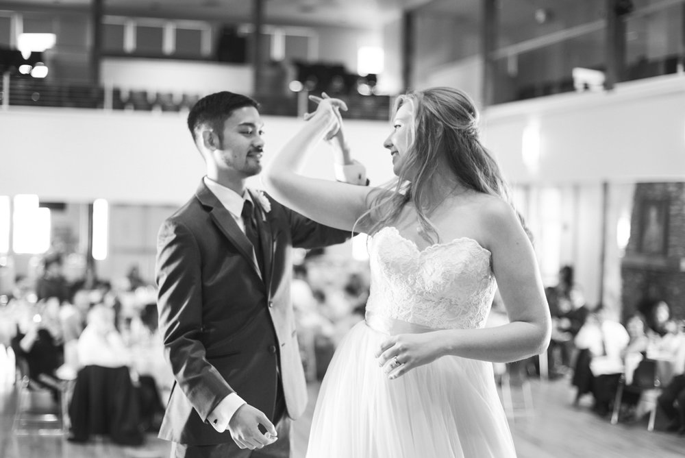 Marsala and White Estate Wedding | Bride and Groom First Dance