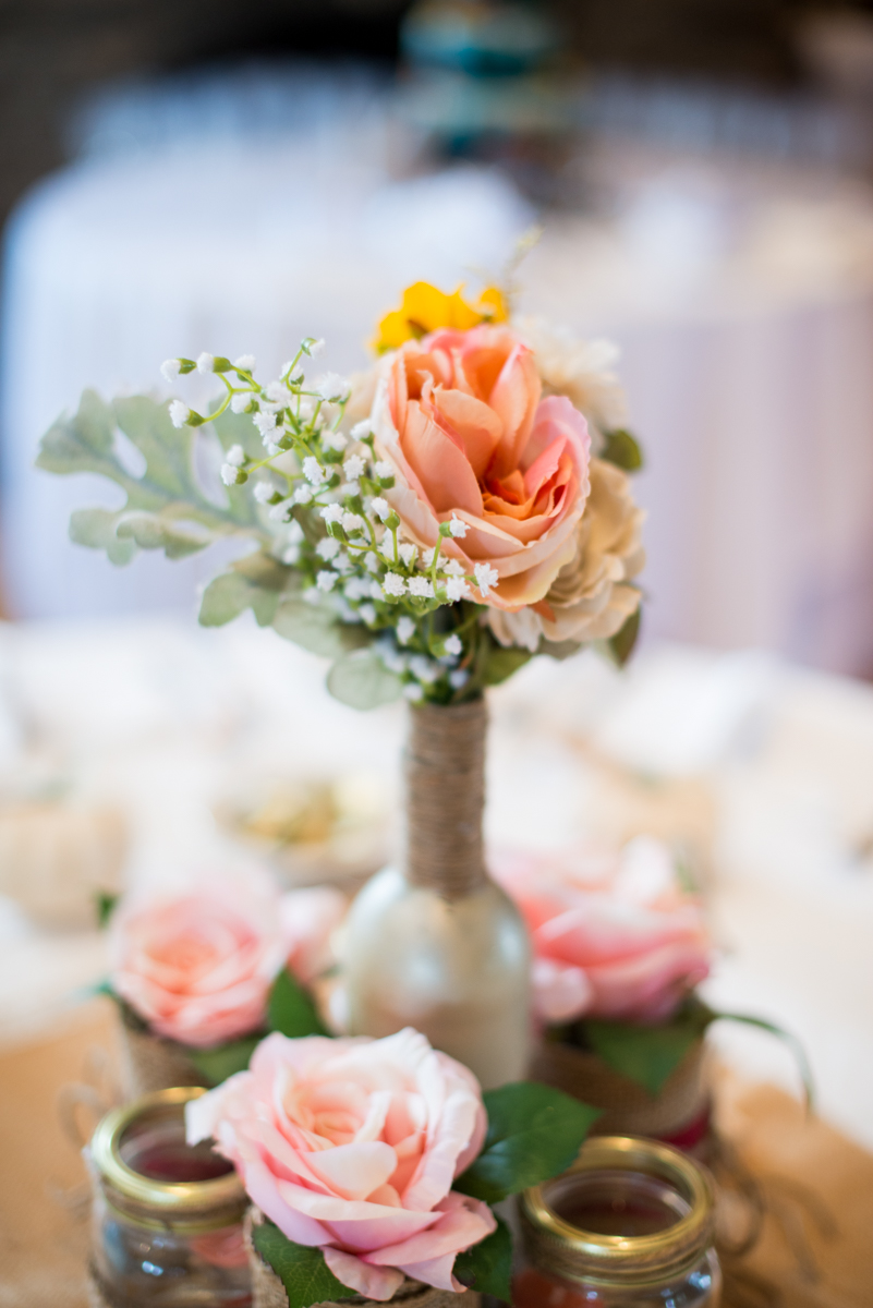 Marsala and White Estate Wedding | Fall Flower Centerpiece