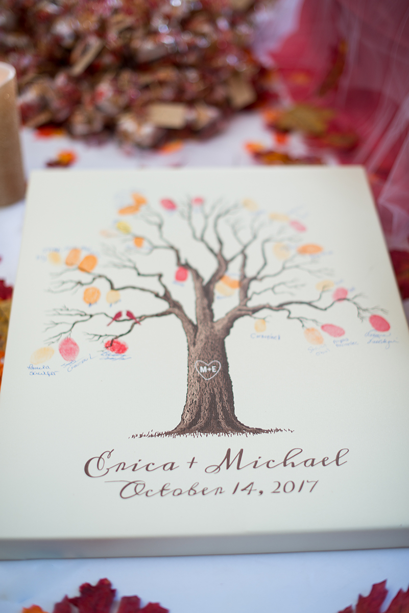 Marsala and White Estate Wedding | Thumbprint Guest Tree