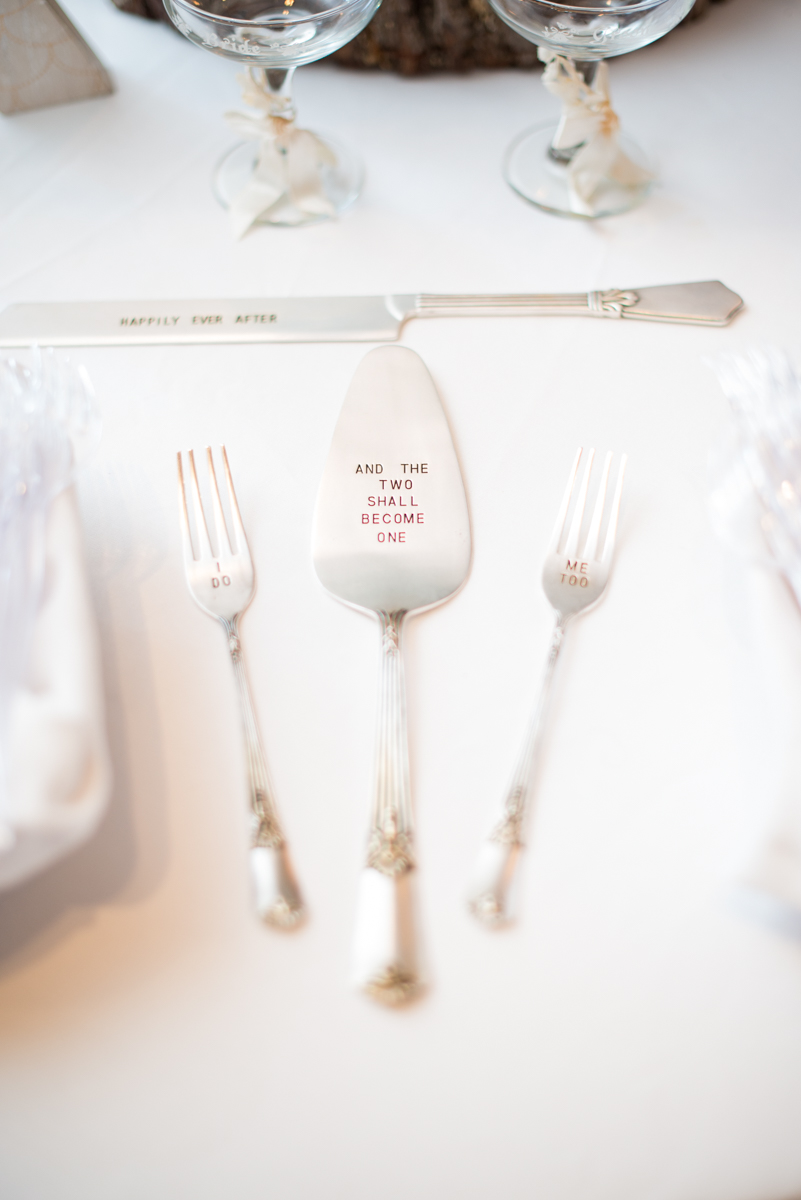 Marsala and White Estate Wedding | Wedding Cake Serving Utensils