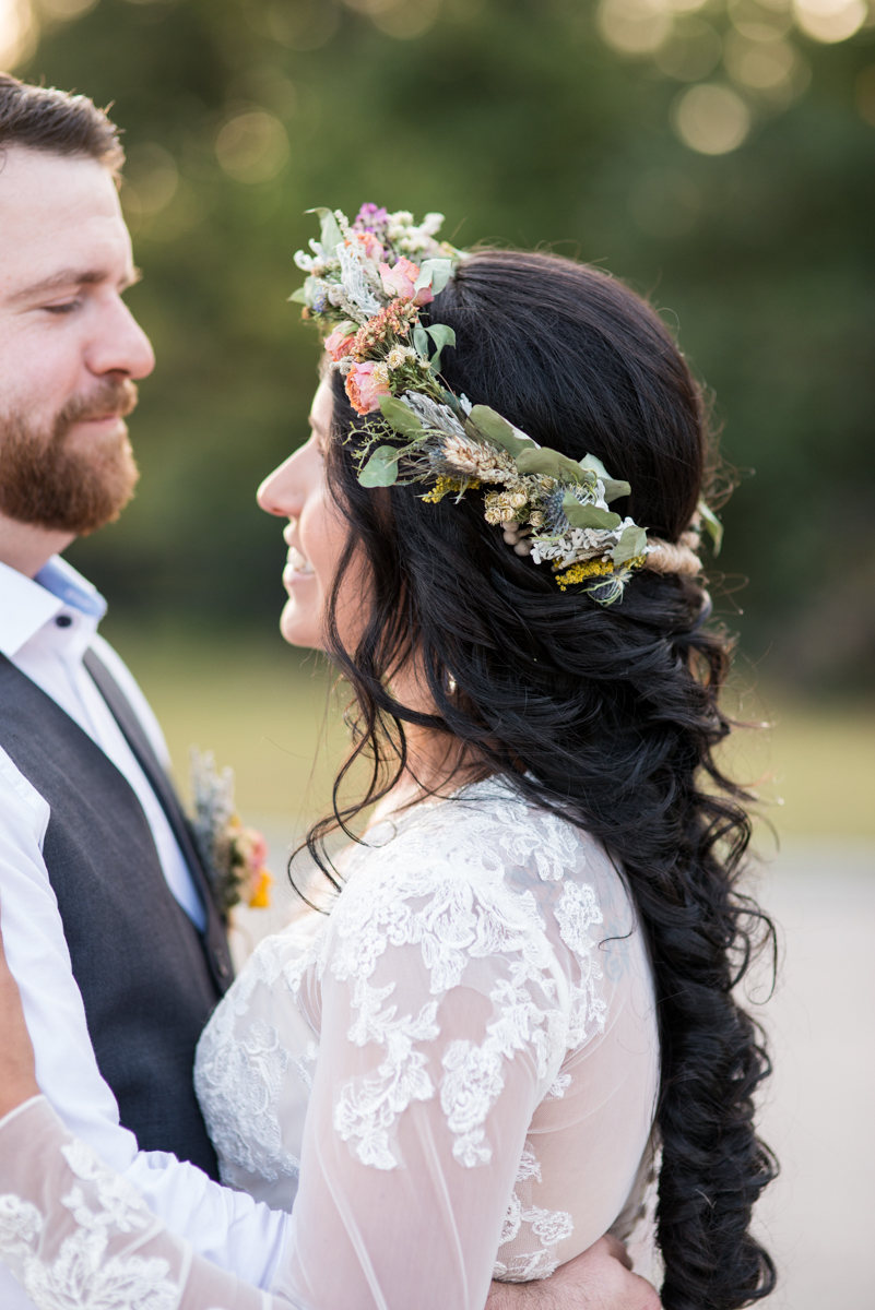 Intimate Boho Elopement | Bride with Flower Crown