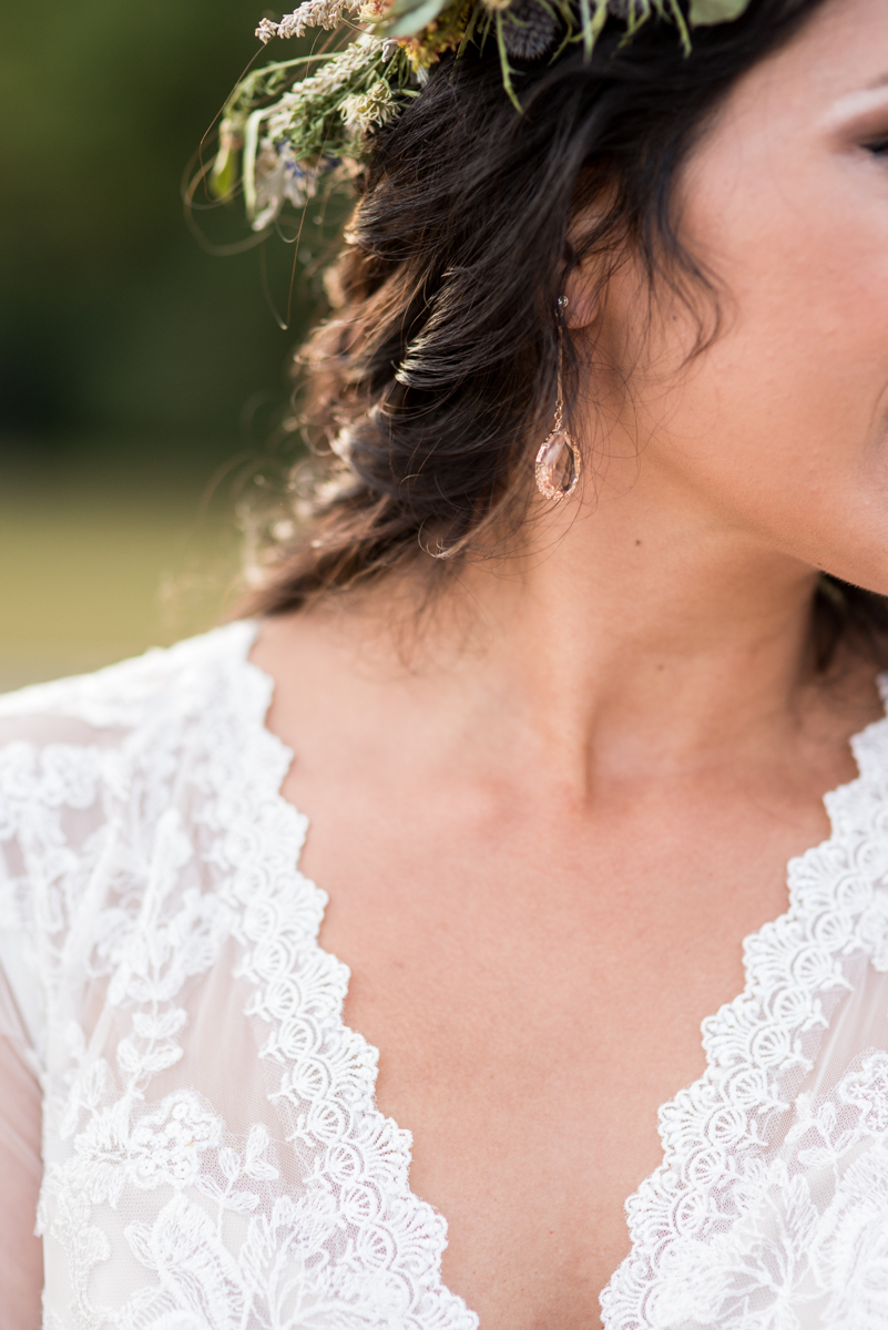 Intimate Boho Elopement | Rose Gold Earrings