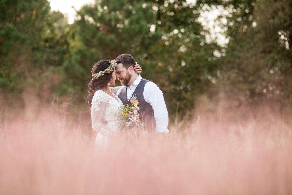 Intimate Boho Elopement | Bride + Groom Portraits in Lavender