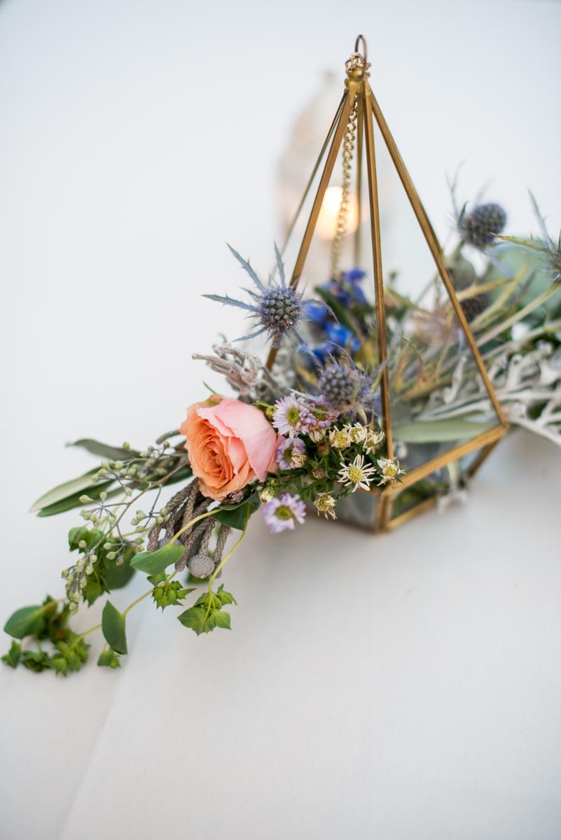 Intimate Boho Elopement | Geometric Lantern Bridal Bouquet