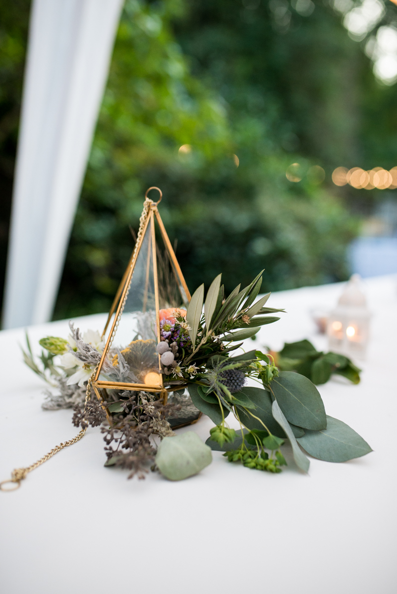 Intimate Boho Elopement | Bouquet in Geometric Lantern