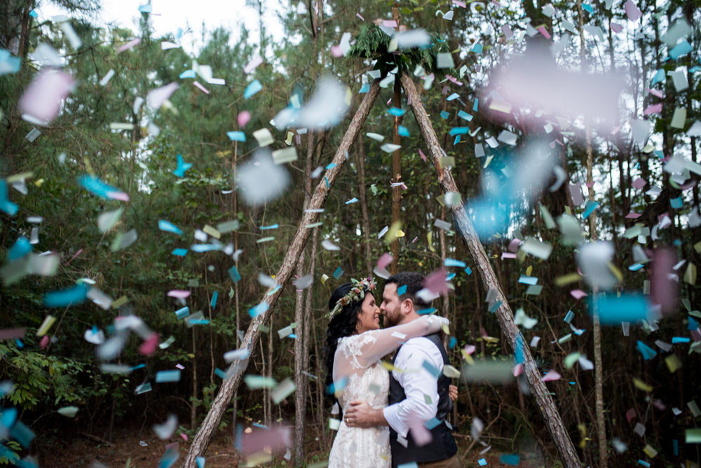 Intimate Boho Elopement | Confetti wedding ceremony end