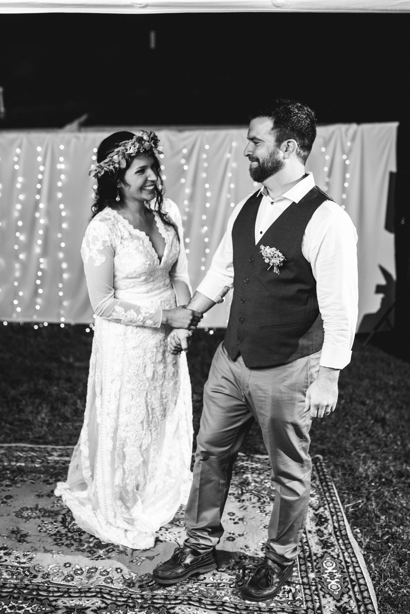 Intimate Boho Elopement | Bride and Groom at reception