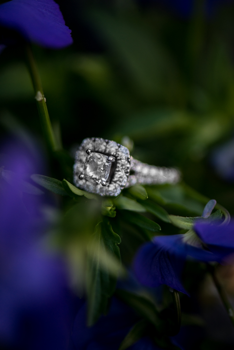 Blue Flower Engagement Ring Shot