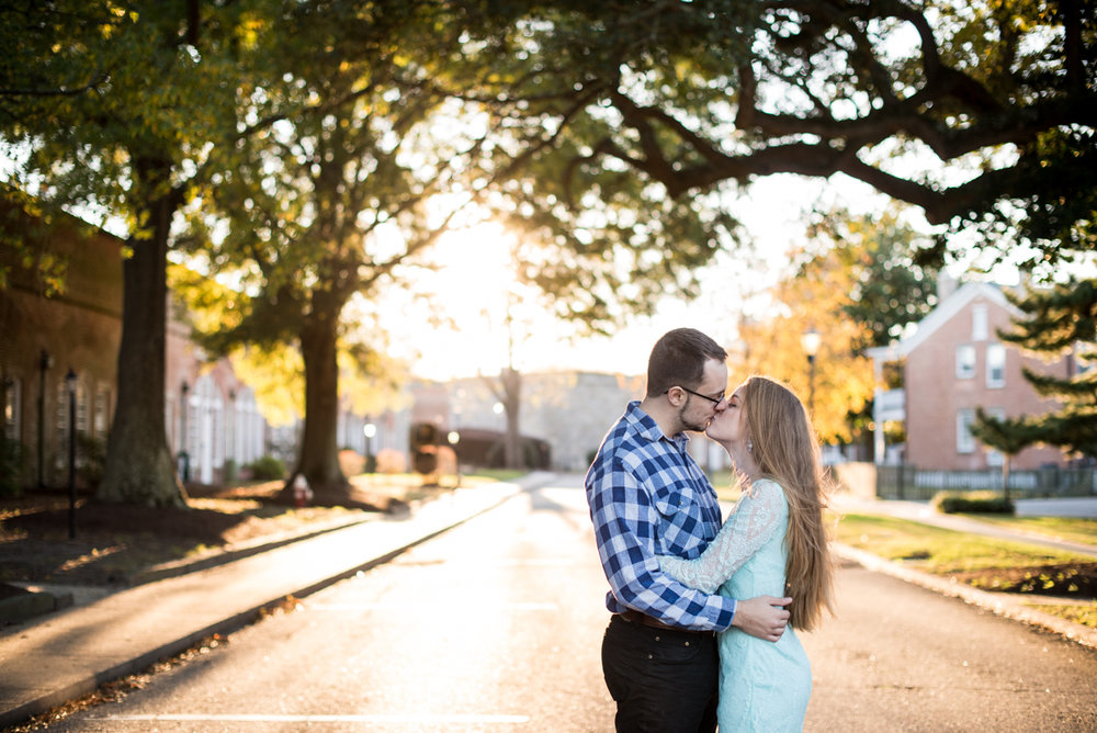 Fall Sunset Engagement Session | Blue Lace Romper and Blue Plaid
