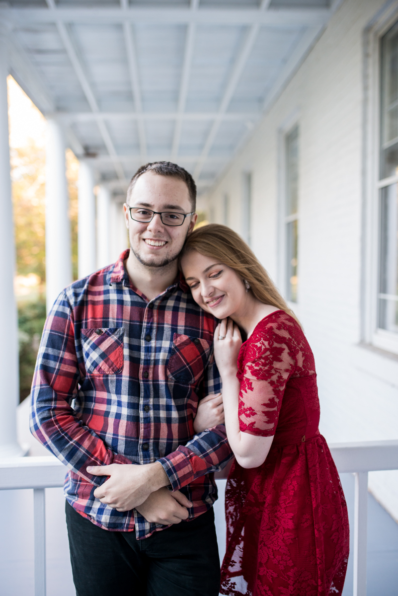 Fall Sunset Engagement Session | Red Lace Dress and Red Plaid