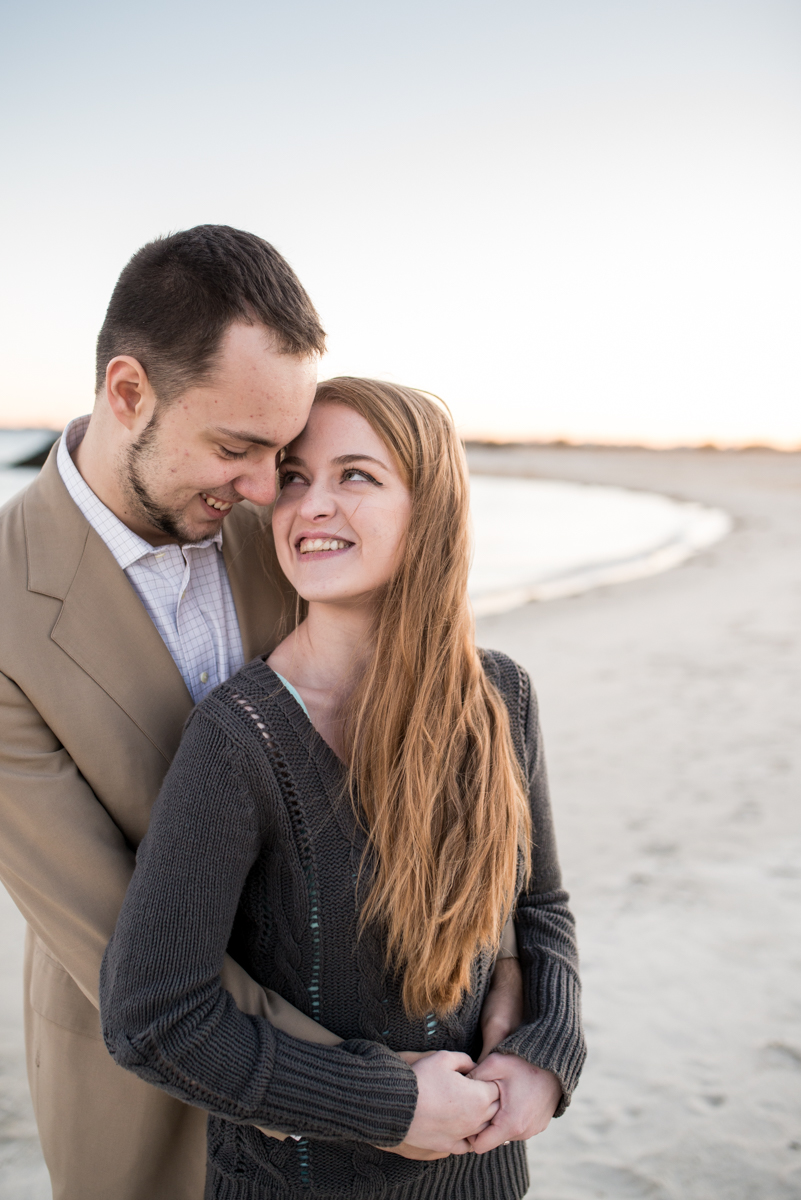 Fall Sunset Engagement Session | Gray Sweater and Suit Jacket
