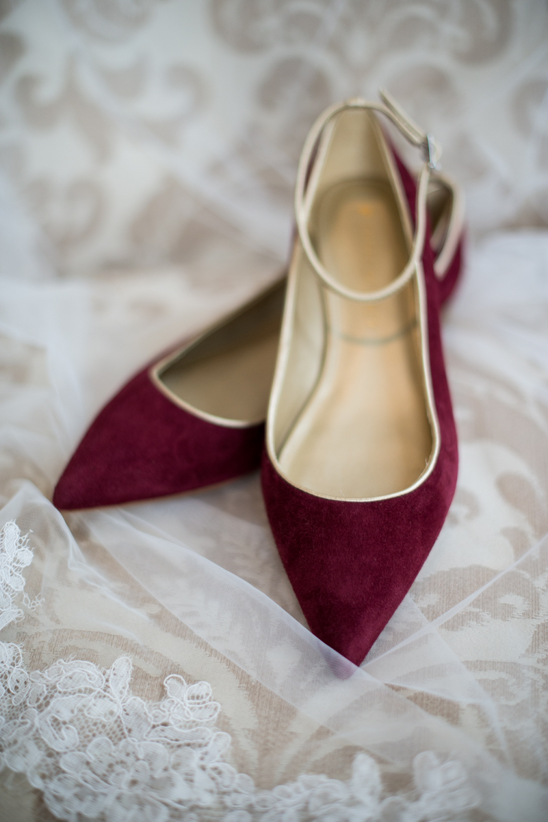 Gold and Burgundy Winter Winery Wedding | Burgundy Wedding Flats