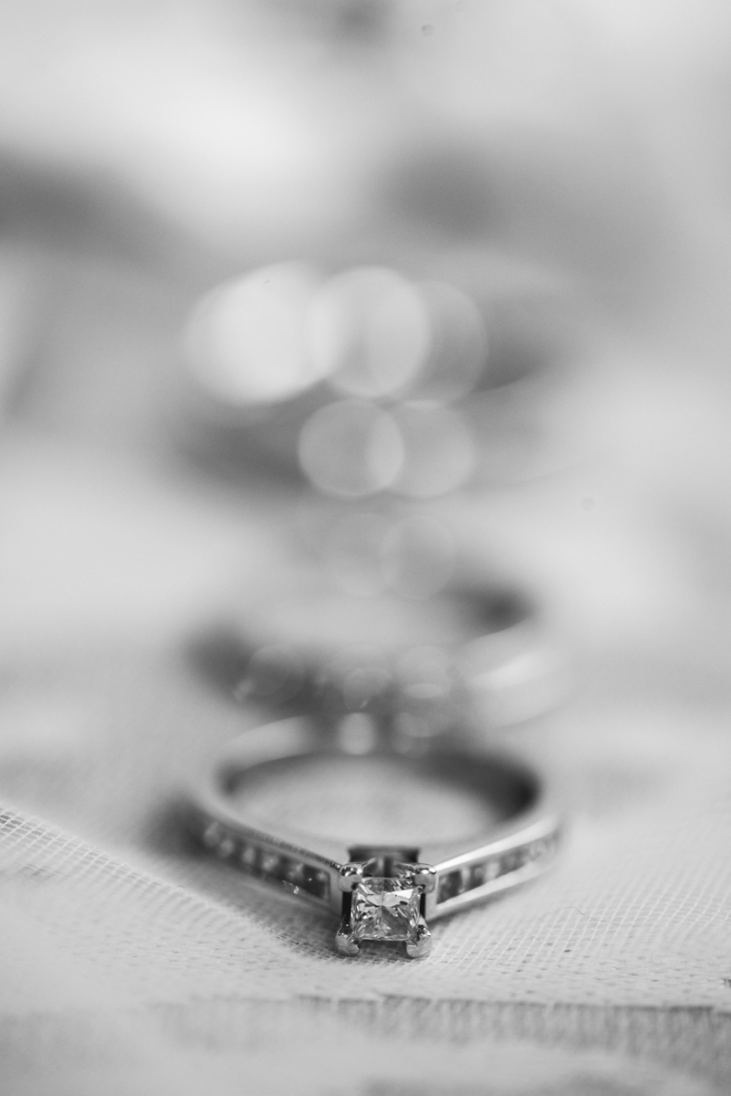 Gold and Burgundy Winter Winery Wedding | Black and White Ring Shot