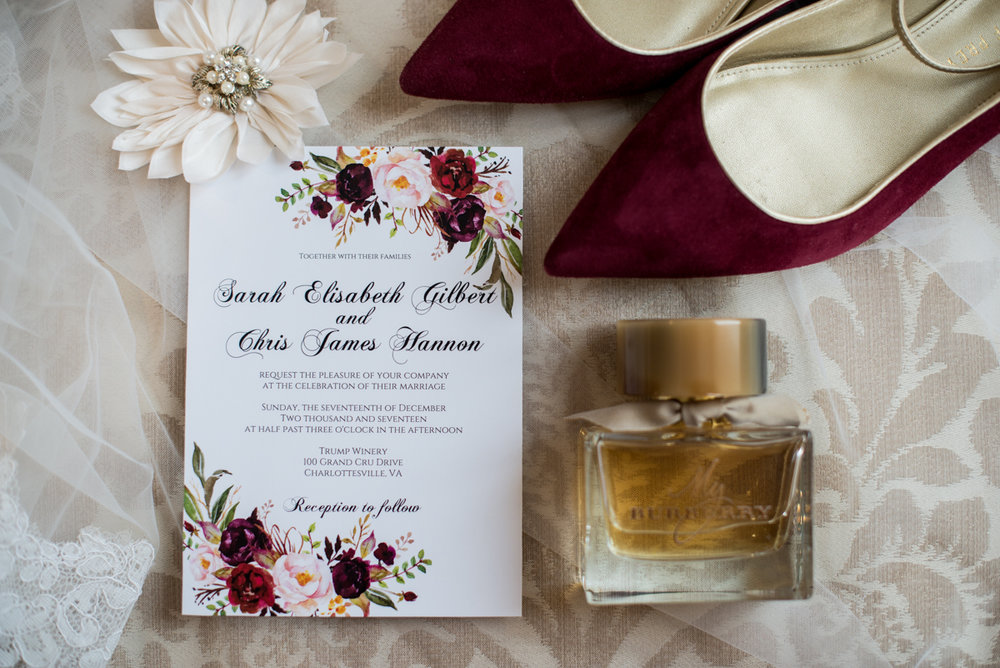 Gold and Burgundy Winter Winery Wedding | Burgundy Shoes, Wedding Invitation, Burberry Perfume