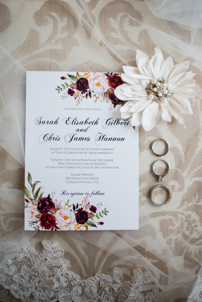 Gold and Burgundy Winter Winery Wedding | Wedding Invitation