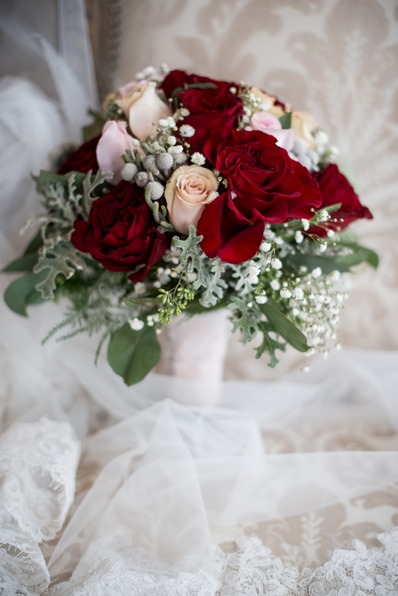 Gold and Burgundy Winter Winery Wedding | Red and Blush Bridal Bouquet
