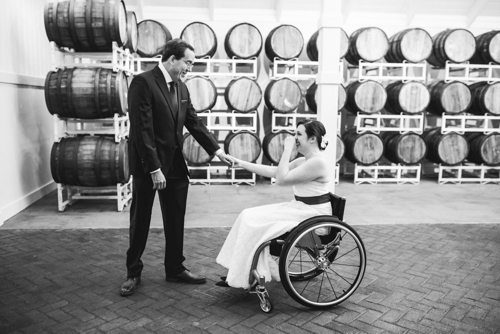 Gold and Burgundy Winter Winery Wedding | Father of the Bride First Look