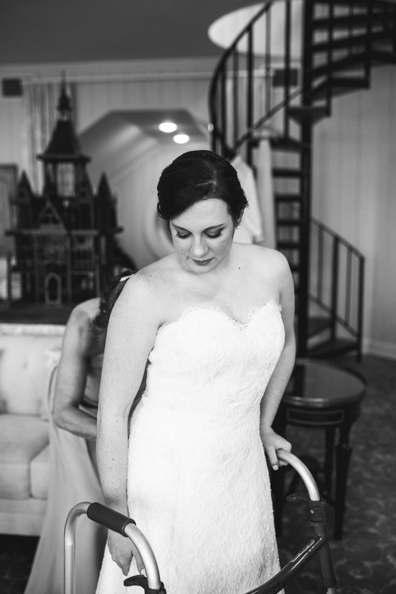 Gold and Burgundy Winter Winery Wedding | Bride Getting Dressed